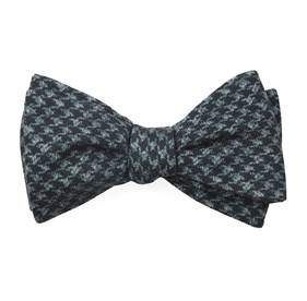 Woolf Houndstooth Black Bow Ties