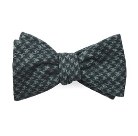 Woolf Houndstooth Hunter Green Bow Ties