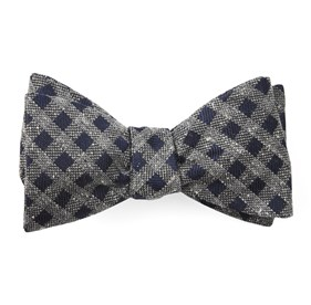 Cement Checks Navy Bow Ties