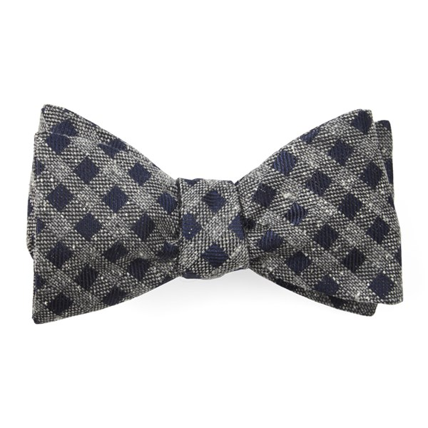 Navy Cement Checks Bow Tie