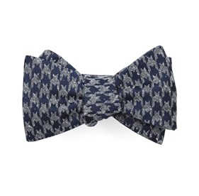 Navy Houndstooth Thrill bow ties