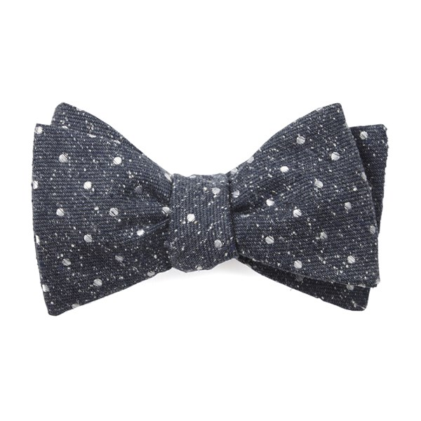 Navy Knotted Dots Bow Tie