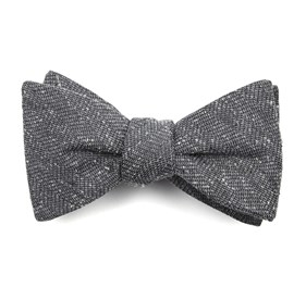 Grey Threaded Zig-zag bow ties
