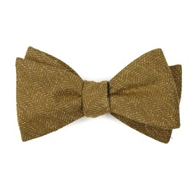 Threaded Zig-zag Mustard Bow Ties