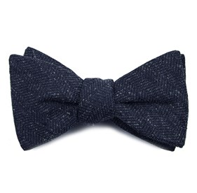 Threaded Zig-zag Navy Bow Ties