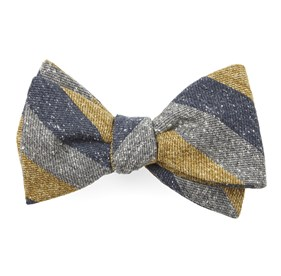 Mustard Varios Stripe bow ties