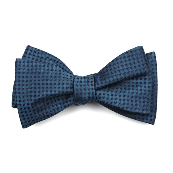 Teal Check Mates Bow Tie