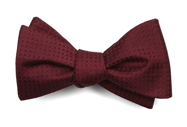Check Mates Burgundy Bow Tie