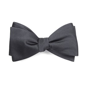 Charcoal Grosgrain Solid bow ties