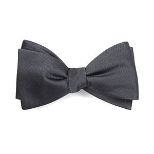 grosgrain solid charcoal bow ties