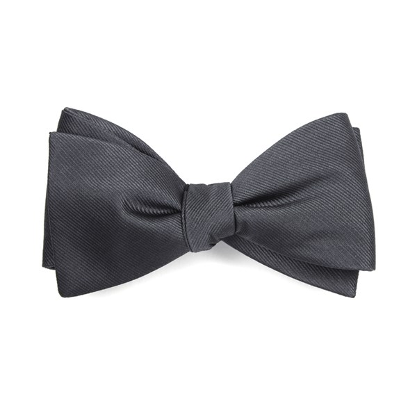Charcoal Grosgrain Solid Bow Tie