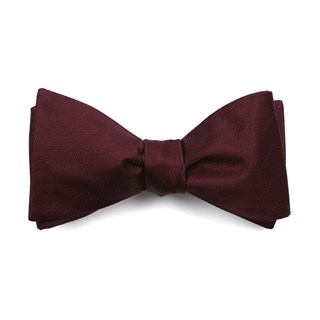 Herringbone Vow Burgundy Bow Tie