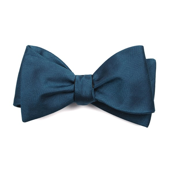Teal Herringbone Vow Bow Tie