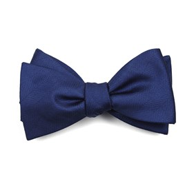 Classic Blue Herringbone Vow bow ties