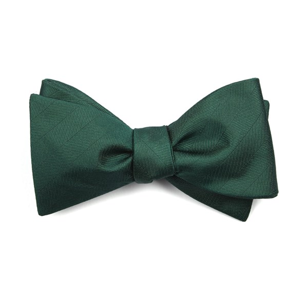 Hunter Green Herringbone Vow Bow Tie