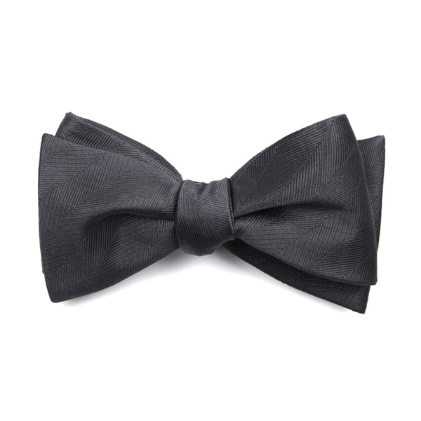 Charcoal Herringbone Vow Bow Tie