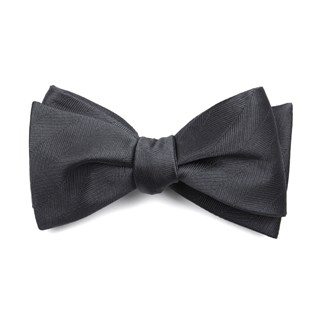 Herringbone Vow Charcoal Bow Tie