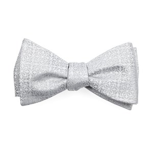 opulent light silver bow ties