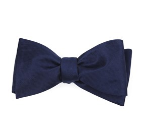 Sound Wave Herringbone Navy Bow Ties