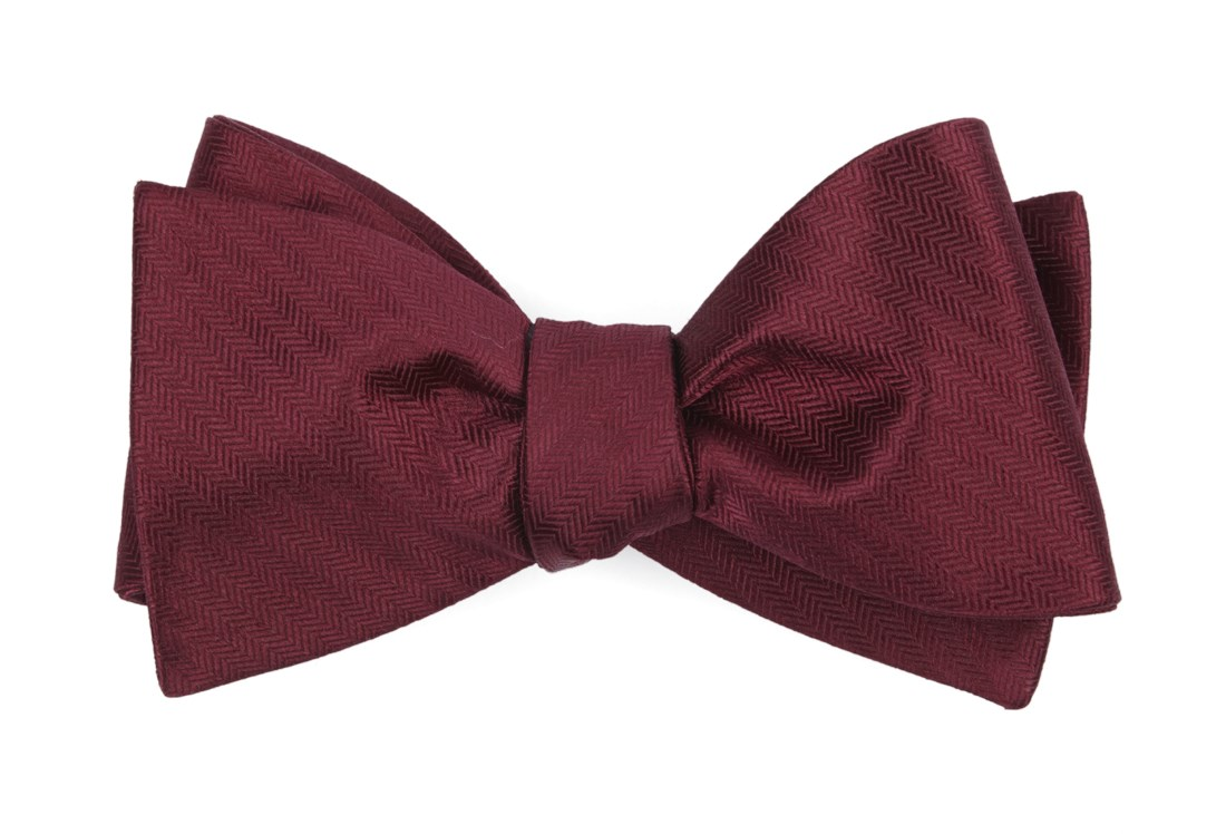 Sound Wave Herringbone - Burgundy - Self-Tie - Regular - Bow Ties
