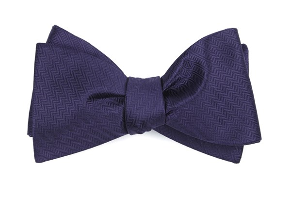Sound Wave Herringbone Eggplant Bow Tie