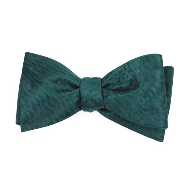 Hunter Green Sound Wave Herringbone Bow Tie