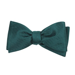 sound wave herringbone hunter green bow ties