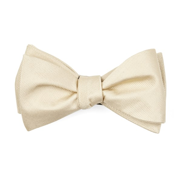 Light Champagne Grosgrain Solid Bow Tie