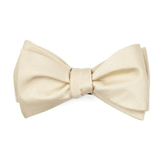 grosgrain solid light champagne bow ties