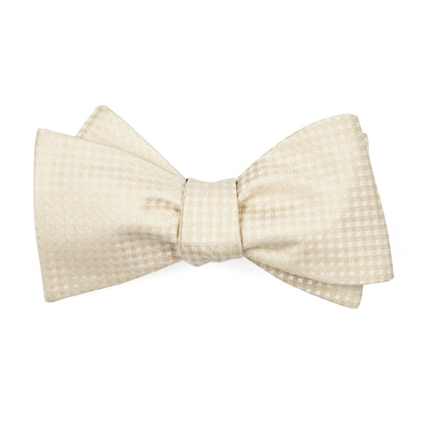 Light Champagne Be Married Checks Bow Tie