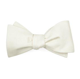 Ivory Grosgrain Solid boys bow ties