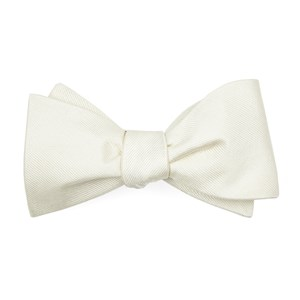 grosgrain solid ivory boys bow ties