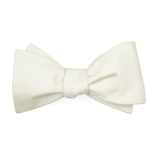Ivory Grosgrain Solid Bow Tie