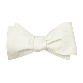 grosgrain solid ivory bow ties