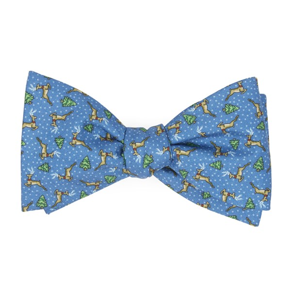 Serene Blue Christmas Fleet Bow Tie