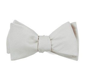 White Grosgrain Solid boys bow ties