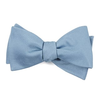 Grosgrain Solid Steel Blue Bow Tie