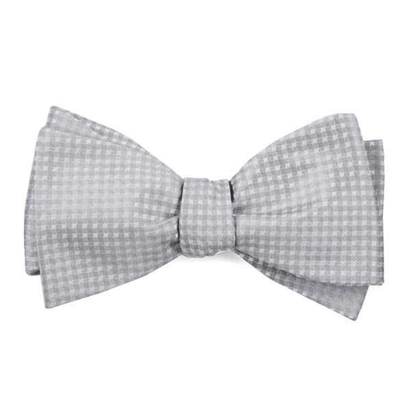Silver Be Married Checks Bow Tie