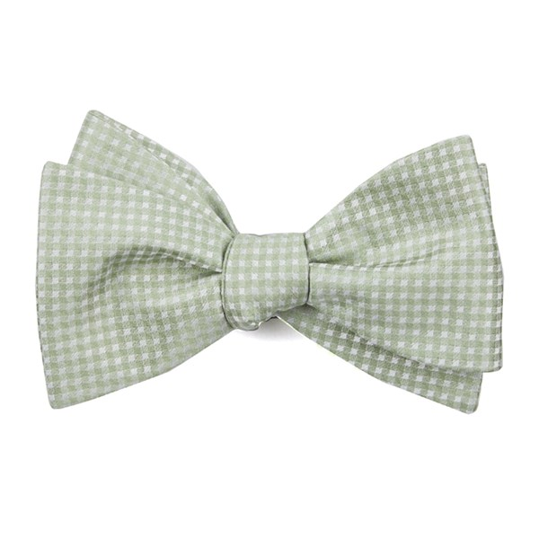 Sage Green Be Married Checks Bow Tie