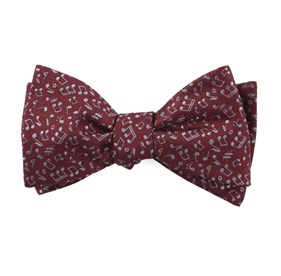 Burgundy Music Notes bow ties