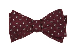 Bow Ties - Mini Skull And Crossbones - Burgundy