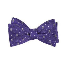 Skull Dots Violet Bow Ties