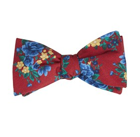 Apple Red Hinterland Floral bow ties