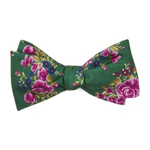 hinterland floral kelly green bow ties