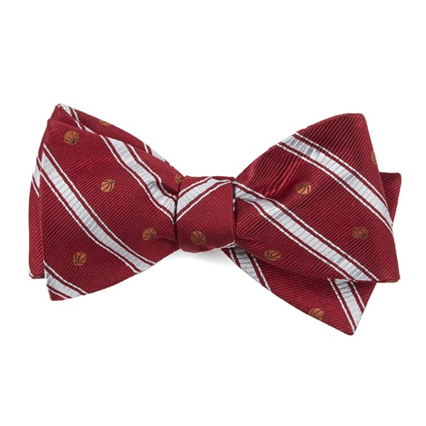 Red Basketball Stripe Bow Tie