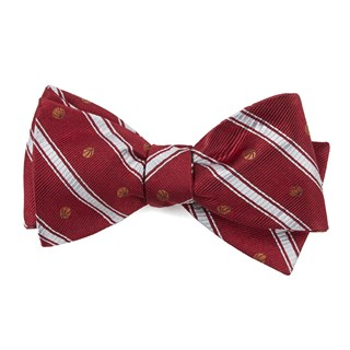 Basketball Stripe Red Bow Tie