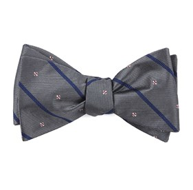 Grey Baseball Stripe bow ties