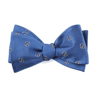 first string crest blue bow ties
