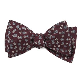 Burgundy Free Fall Floral bow ties