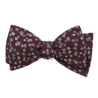 Free Fall Floral Burgundy Bow Tie